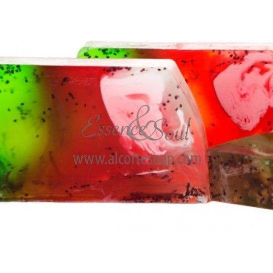 Barra jabón de glicerina sandía (exfoliante)