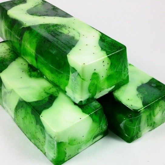 Barra jabón de glicerina kiwi (exfoliante)