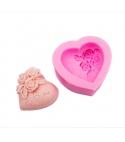 Molde de silicona Corazón con flores I Love You
